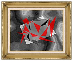 Lora Ashley Fragments Unite Red And Black canvas with gallery gold wood frame