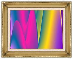 Lora Ashley Rainbow World canvas with gallery gold wood frame