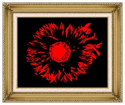Lora Ashley Black And Red Flower Abstract canvas with gallery gold wood frame