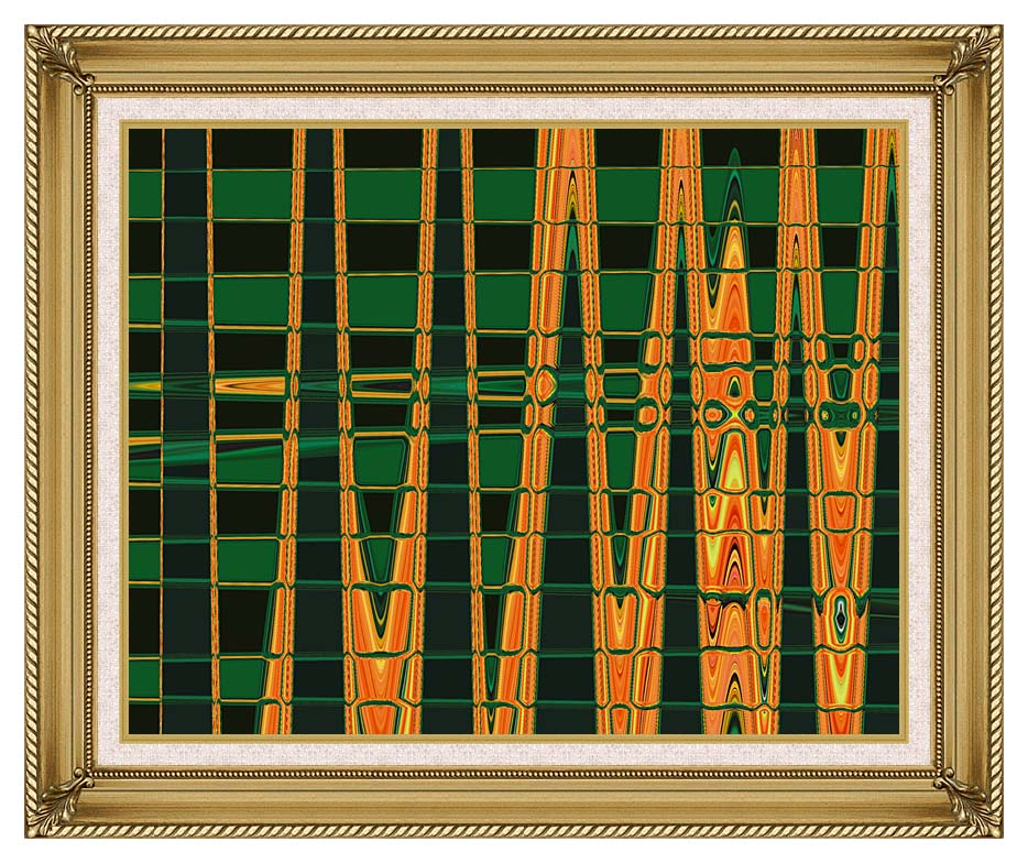 Lora Ashley Green and Orange Abstract with Gallery Gold Frame w/Liner