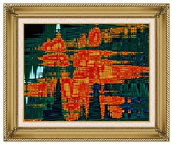 Lora Ashley Green And Orange Tapestry canvas with gallery gold wood frame