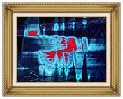Lora Ashley Light In Blue And Red canvas with gallery gold wood frame