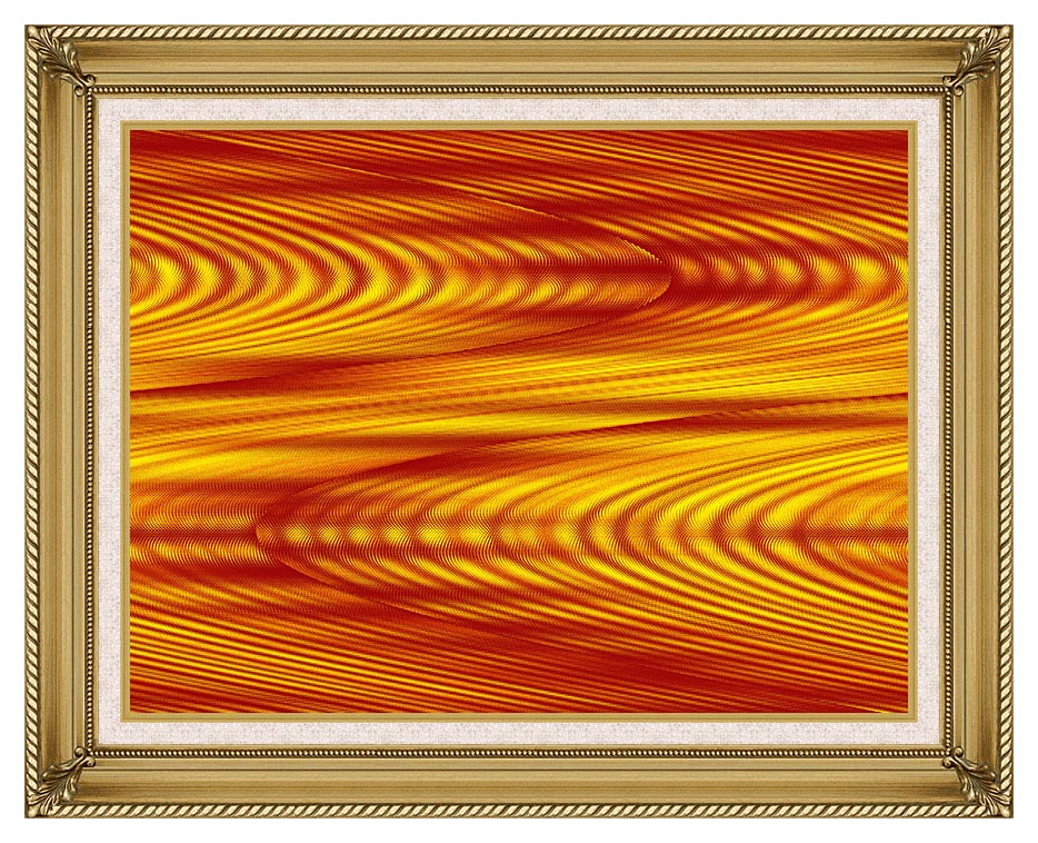 Lora Ashley Red and Yellow Slide with Gallery Gold Frame w/Liner