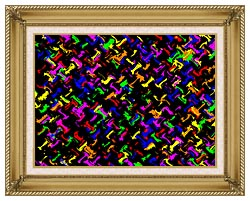 Lora Ashley Contemporary Rainbow Colors canvas with gallery gold wood frame