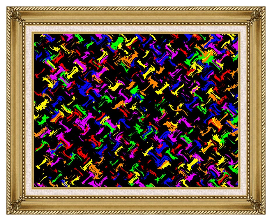 Lora Ashley Contemporary Rainbow Colors with Gallery Gold Frame w/Liner
