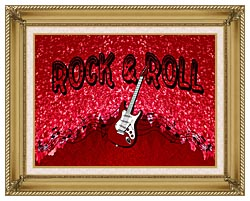 Lora Ashley Rock And Roll Guitar canvas with gallery gold wood frame