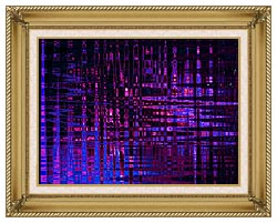 Lora Ashley Pink And Blue Light Show canvas with gallery gold wood frame