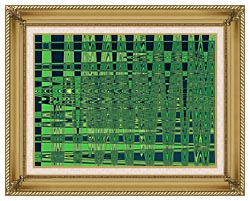 Lora Ashley Green And Blue Weave canvas with gallery gold wood frame
