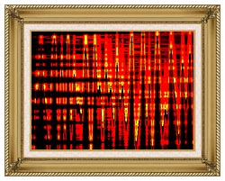 Lora Ashley Red Yellow And Black Abstract canvas with gallery gold wood frame
