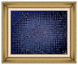 Lora Ashley Black And Blue Tapestry canvas with gallery gold wood frame