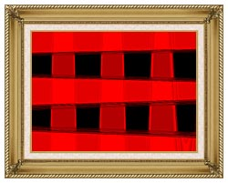 Lora Ashley Modern Black And Red Abstract canvas with gallery gold wood frame