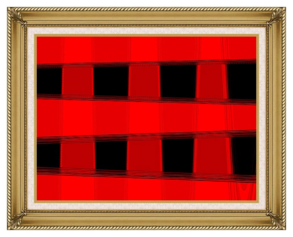 Lora Ashley Modern Black and Red Abstract with Gallery Gold Frame w/Liner