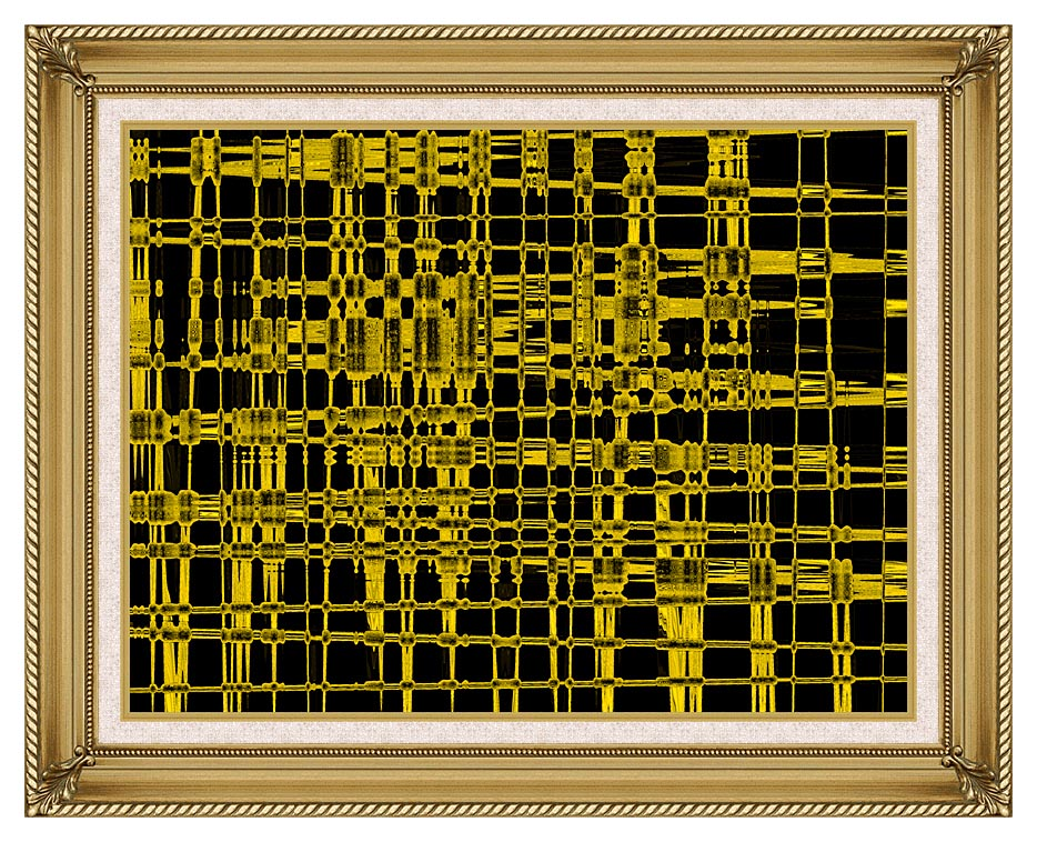 Lora Ashley Contemporary Yellow Abstract with Gallery Gold Frame w/Liner