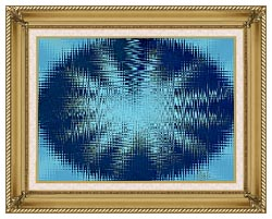 Lora Ashley Abstract Blue Flower canvas with gallery gold wood frame