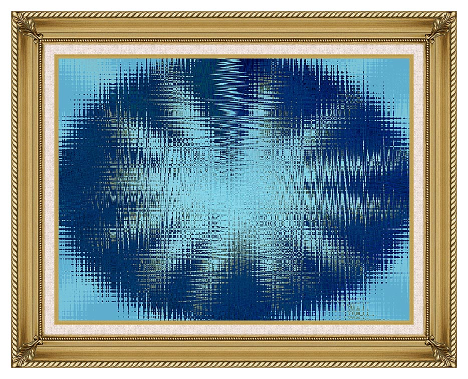 Lora Ashley Abstract Blue Flower with Gallery Gold Frame w/Liner