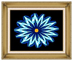 Lora Ashley Contemporary Blue Flower canvas with gallery gold wood frame