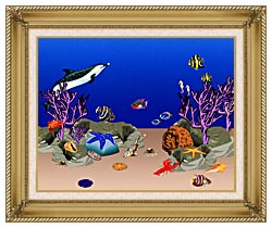 Lora Ashley Ocean Scene Underwater canvas with gallery gold wood frame