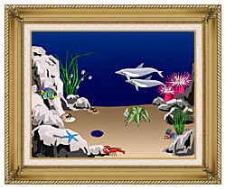 Lora Ashley Dolphins Swimming canvas with gallery gold wood frame