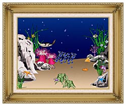 Lora Ashley Sting Ray canvas with gallery gold wood frame