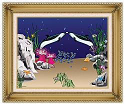 Lora Ashley Spotted Dolphins canvas with gallery gold wood frame