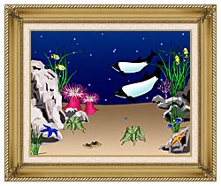 Lora Ashley Whales Swimming canvas with gallery gold wood frame