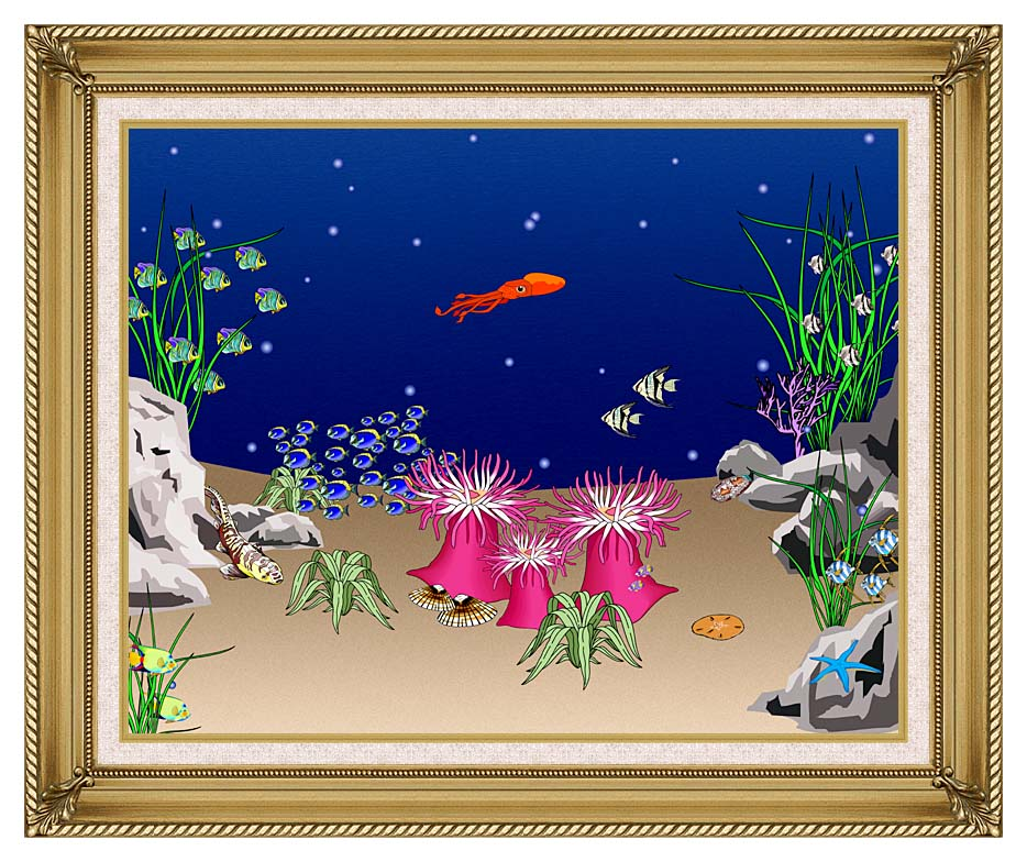 Lora Ashley Octopus Swimming with Gallery Gold Frame w/Liner