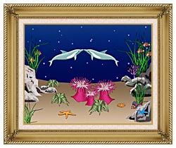Lora Ashley Kissing Dolphins canvas with gallery gold wood frame