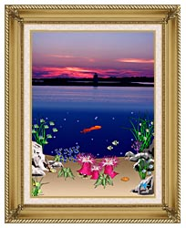 Lora Ashley Ocean Scene Above And Below canvas with gallery gold wood frame