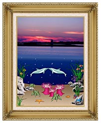 Lora Ashley Lighthouse Above Dolphins Below canvas with gallery gold wood frame