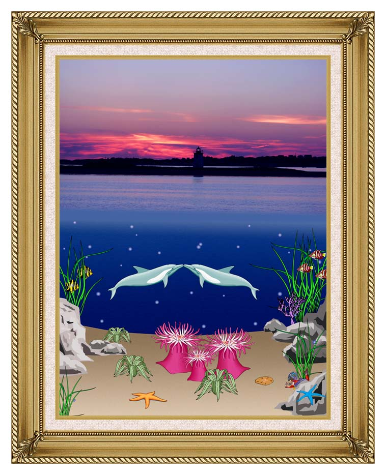 Lora Ashley Lighthouse Above, Dolphins Below with Gallery Gold Frame w/Liner