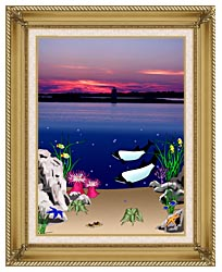 Lora Ashley Lighthouse Above Whales Below canvas with gallery gold wood frame