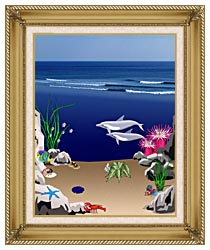Lora Ashley Dolphins Below The Ocean Waves canvas with gallery gold wood frame