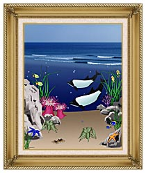 Lora Ashley Whales Below The Ocean Waves canvas with gallery gold wood frame