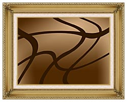 Lora Ashley Brown Abstract canvas with gallery gold wood frame