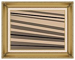 Lora Ashley Contemporary Black And Tan canvas with gallery gold wood frame