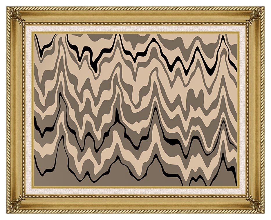 Lora Ashley Modern Black and Tan with Gallery Gold Frame w/Liner