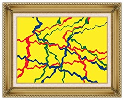 Lora Ashley Yellow Abstract canvas with gallery gold wood frame