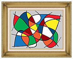 Lora Ashley Abstract canvas with gallery gold wood frame