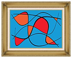 Lora Ashley Blue And Red Abstract canvas with gallery gold wood frame
