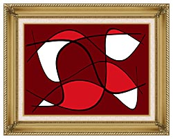Lora Ashley Maroon Abstract canvas with gallery gold wood frame