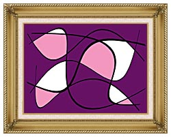 Lora Ashley Purple And Pink Abstract canvas with gallery gold wood frame