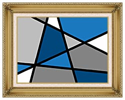 Lora Ashley Blue And Grey Abstract canvas with gallery gold wood frame