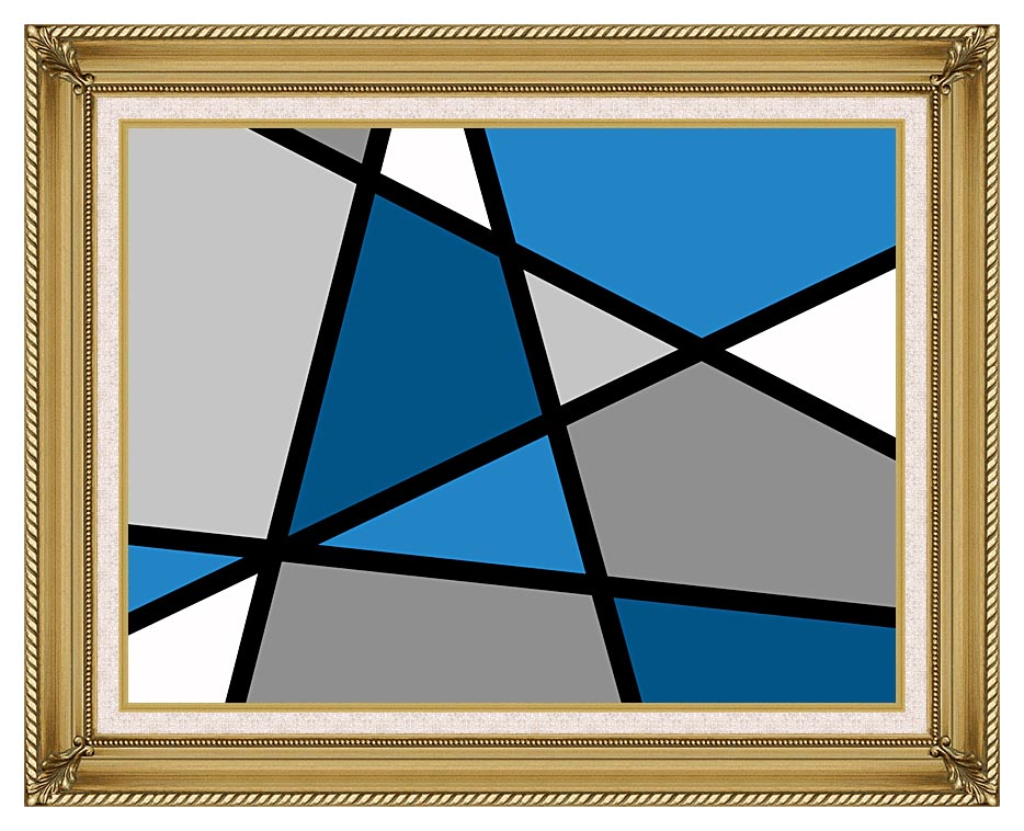 Lora Ashley Blue and Grey Abstract with Gallery Gold Frame w/Liner