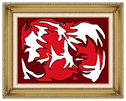 Lora Ashley Red And White canvas with gallery gold wood frame