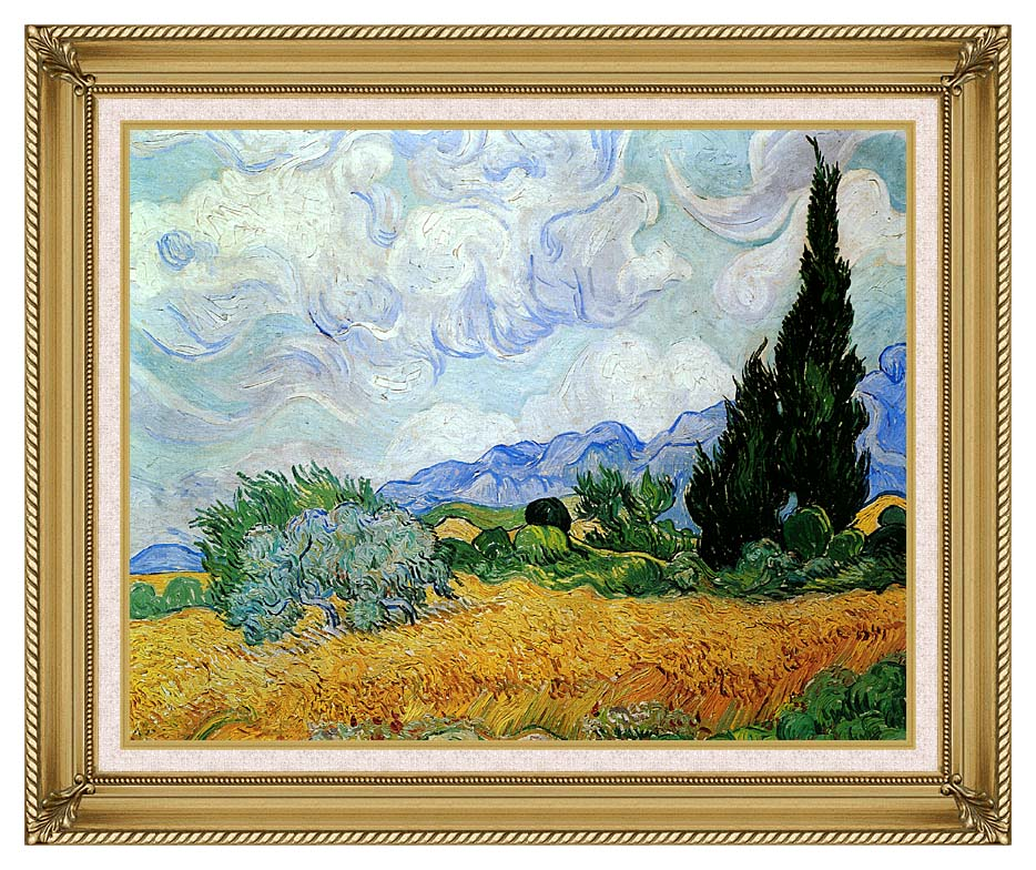 Vincent van Gogh Wheat Field and Cypress Trees (seen in the movie Vanilla Sky) with Gallery Gold Frame w/Liner