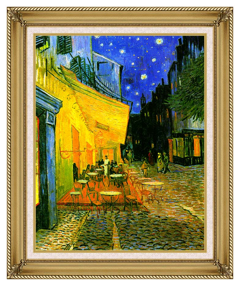 Vincent van Gogh Cafe Terrace at Night with Gallery Gold Frame w/Liner