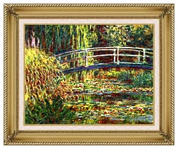 Claude Monet Water Lilies Pink Harmony canvas with gallery gold wood frame