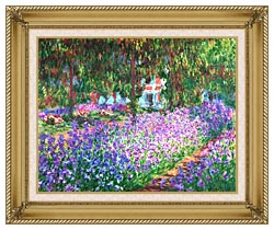 Claude Monet The Artists Garden At Giverny canvas with gallery gold wood frame