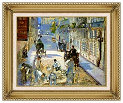 Edouard Manet The Rue Mosnier With Pavers canvas with gallery gold wood frame