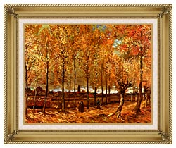 Vincent Van Gogh Lane With Poplars canvas with gallery gold wood frame